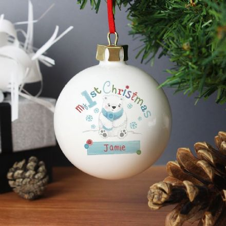 Personalised Bauble - Polar Bear My 1st Chistmas